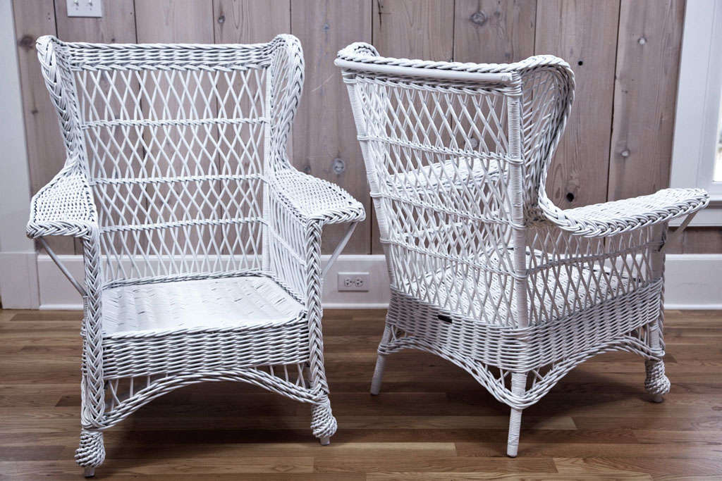 heywood wakefield wicker chairs patio chair set of 2 wingback armchairs for sale at 1stdibs antique with woven seats on pineapple feet beautiful design