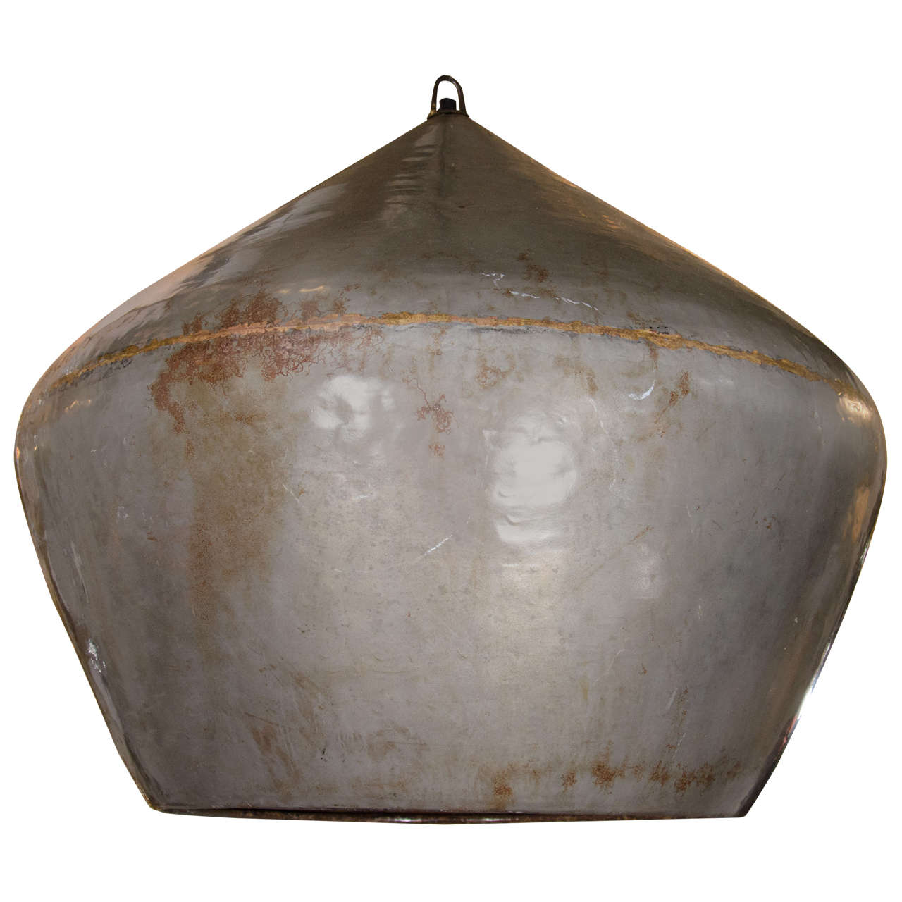 Large Distressed Enamel on Copper Drum Pendant Light at