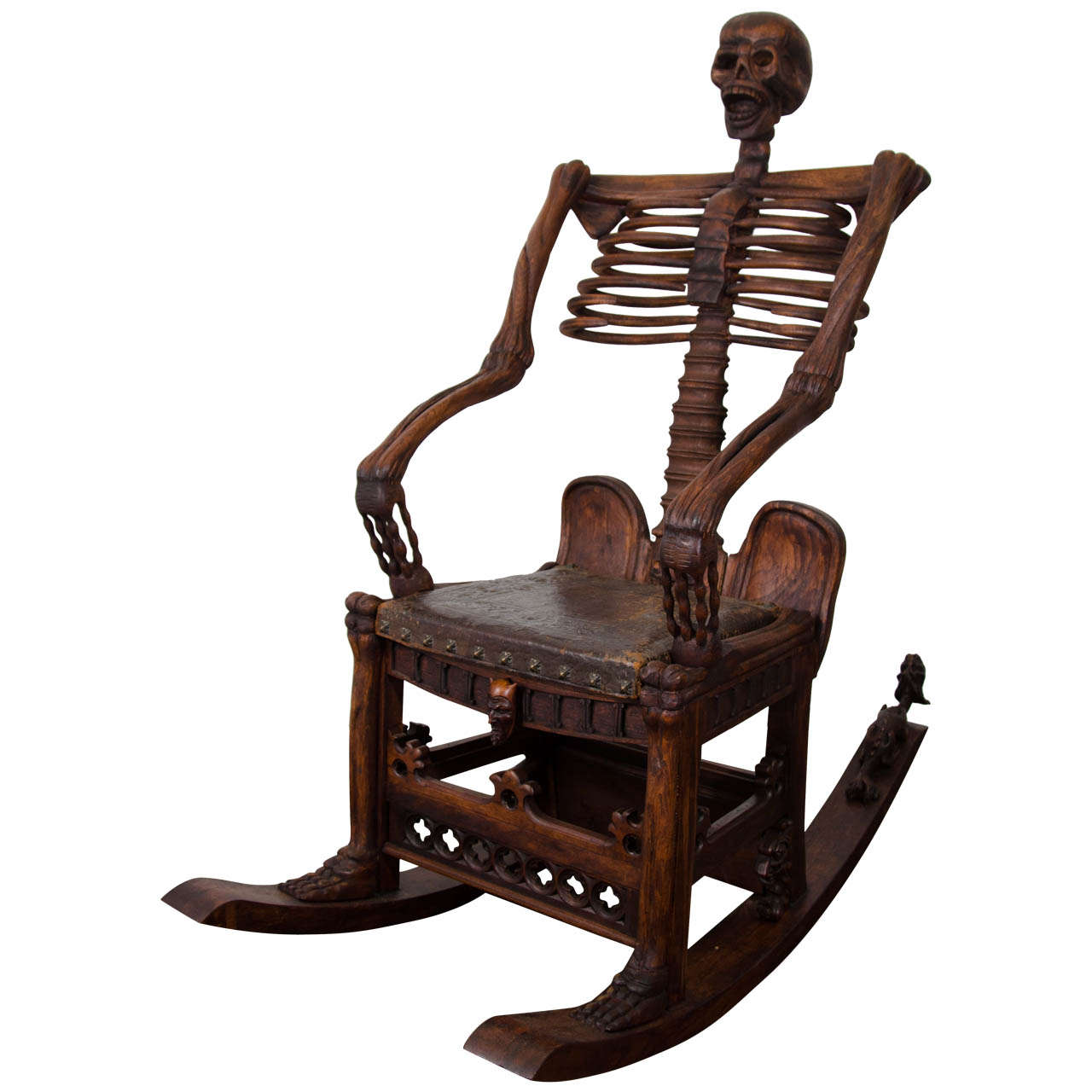 antique wooden rocking chairs faux fur saucer chair an hand carved skeleton at 1stdibs for sale