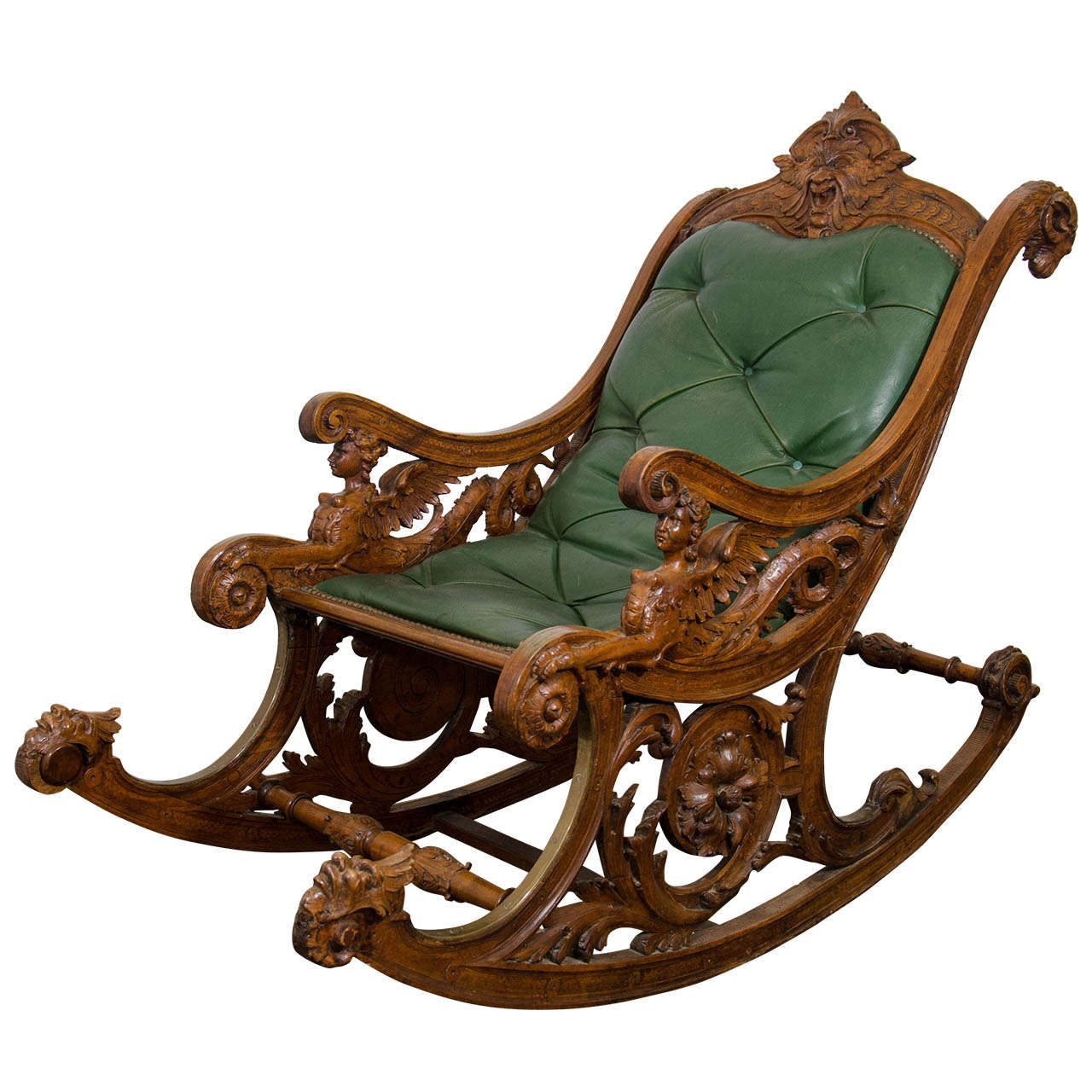 chair design antique aeron alternative reddit a 19th century carved italian rocking w griffins and rams heads for sale