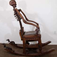 Hand Chairs Brown Leather Office Chair Modern An Antique Carved Skeleton Rocking At 1stdibs