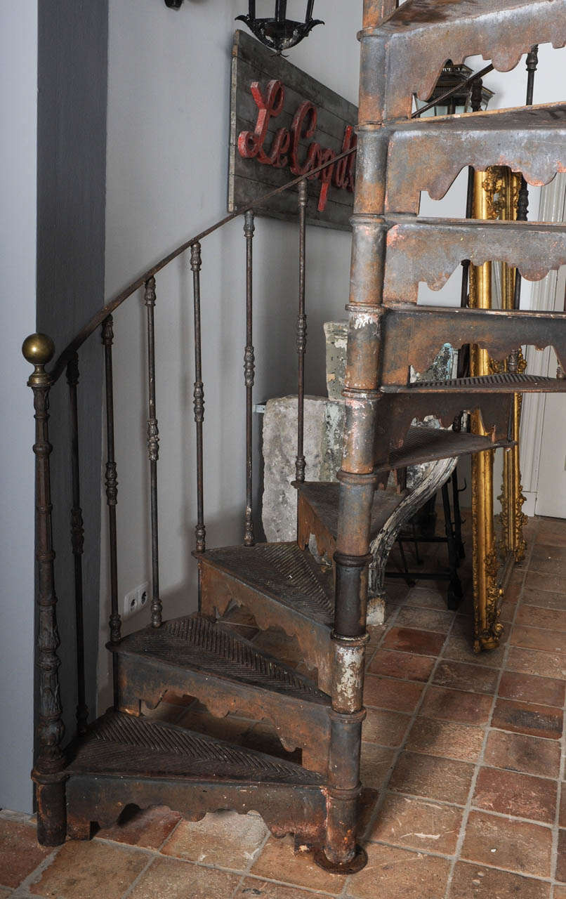 An Antique Industrial Cast Iron Spiral Staircase at 1stdibs