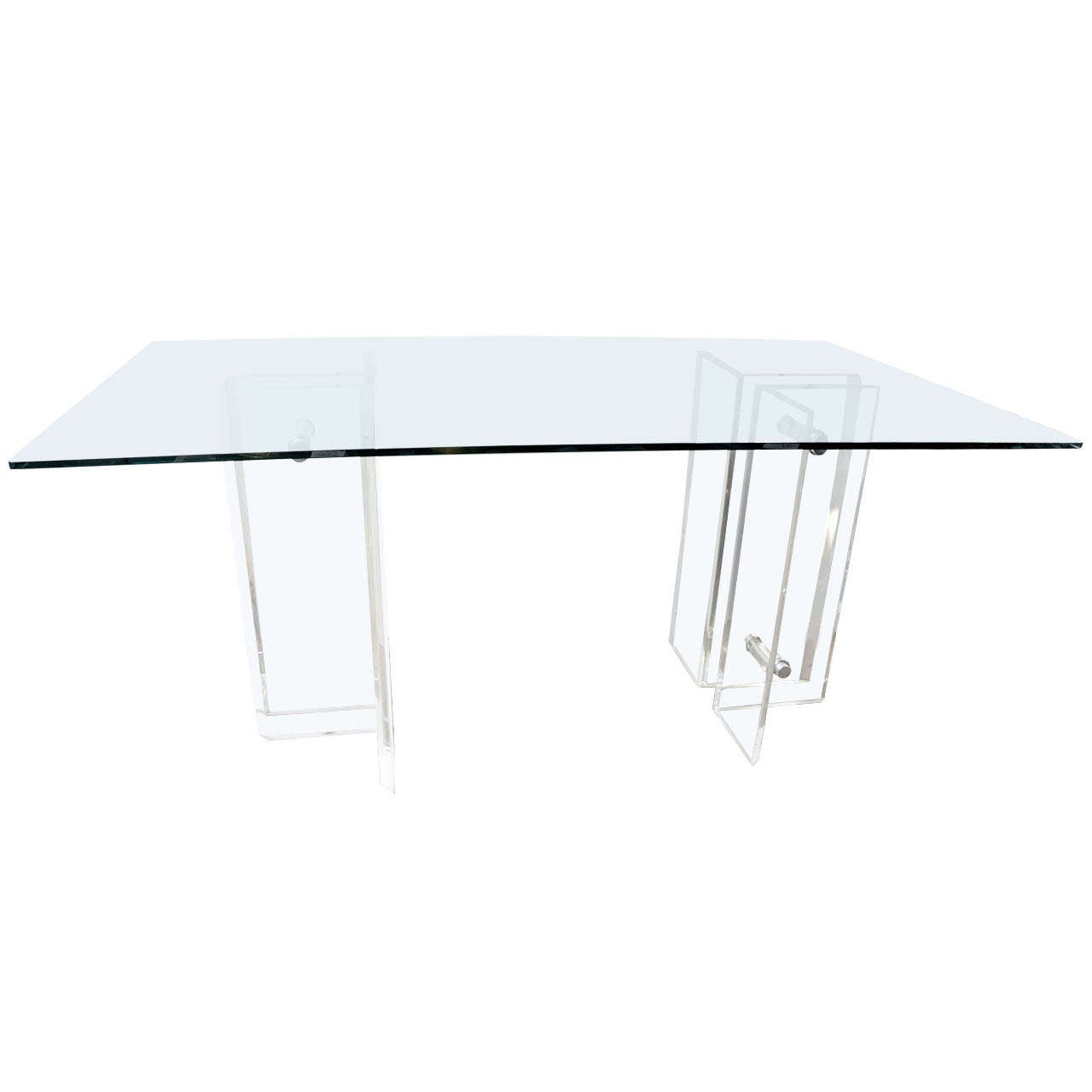 Lucite Base Glass Top Desk Dining Table At 1stdibs