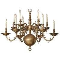 Unusual Brass Twelve-Light Chandelier at 1stdibs