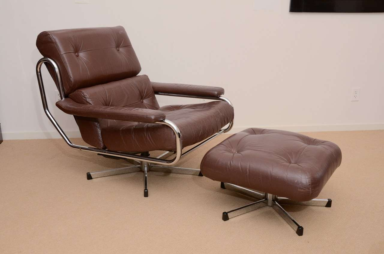 Leather Chairs With Ottoman 1960 S Pieff Leather And Chrome Swivel Chair With Ottoman