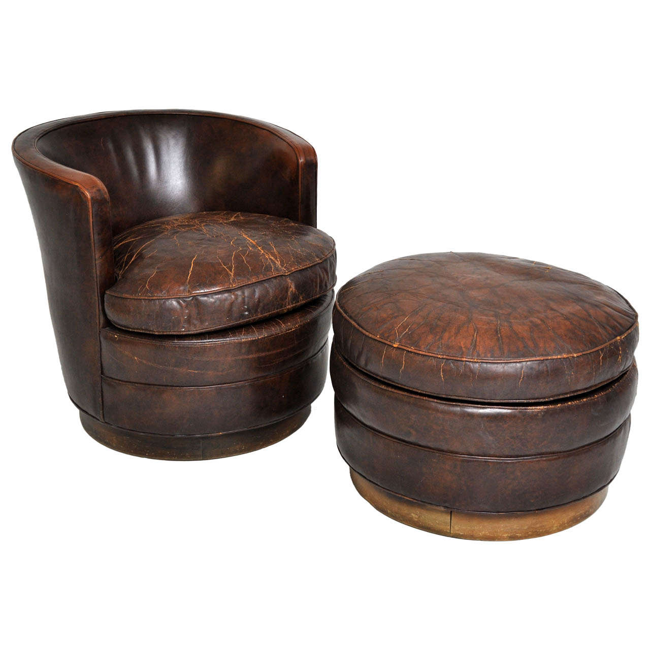 swivel club chair with ottoman covers stretch dunbar lounge and at 1stdibs