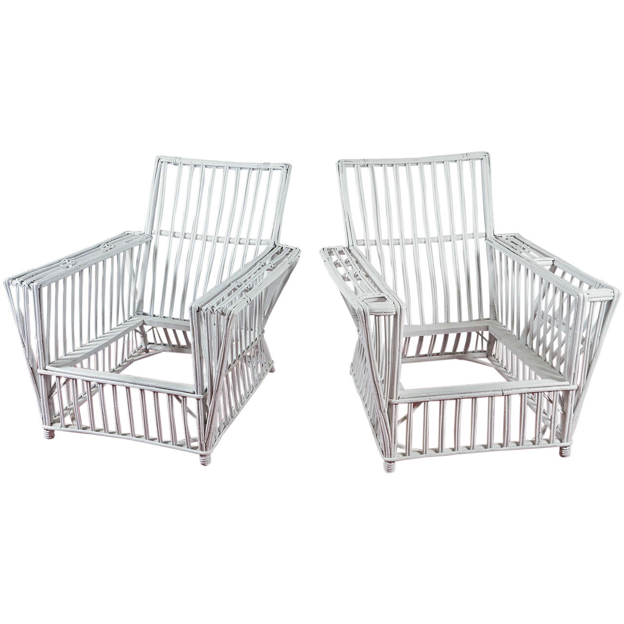 Pair Of Stick Wicker Chairs At 1stdibs