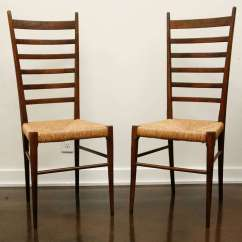 Wicker Ladder Back Chairs Chair Design Workshop Pair Of Italian With Woven Seats At 1stdibs