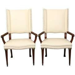 White Leather Chairs For Sale Affordable Rocking Pair And Nailhead Arm At 1stdibs