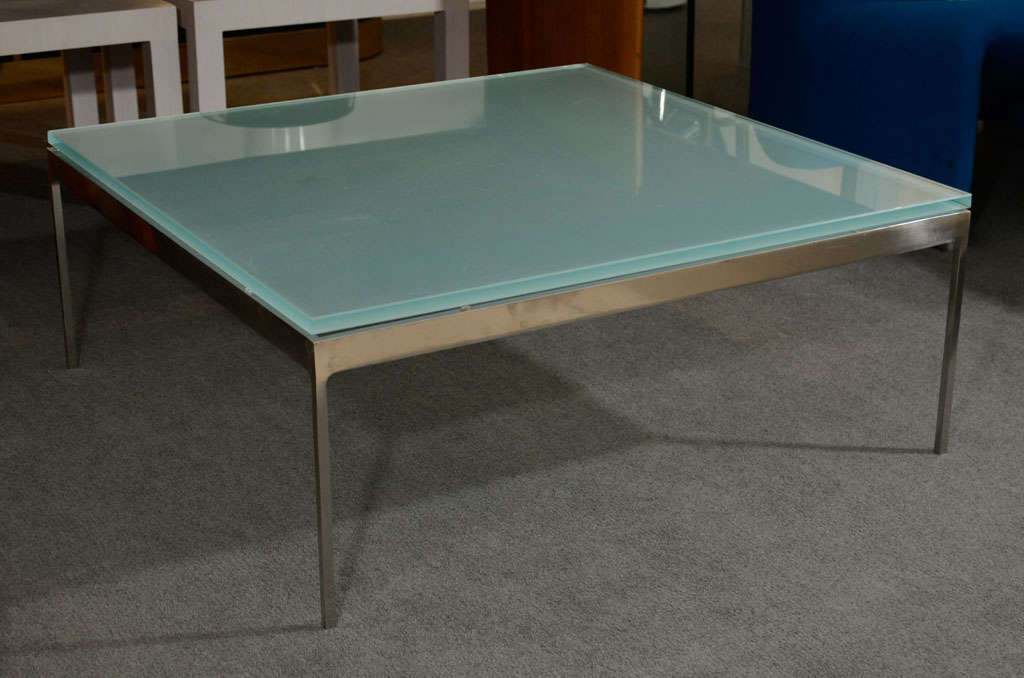 sleek steel frosted glass coffee table by nicos zographos