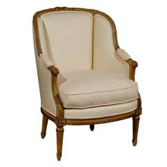 French Bergere Chair Inflatable Camping Louis Xvi Style Barrel Back Beechwood From The 19th Century For Sale