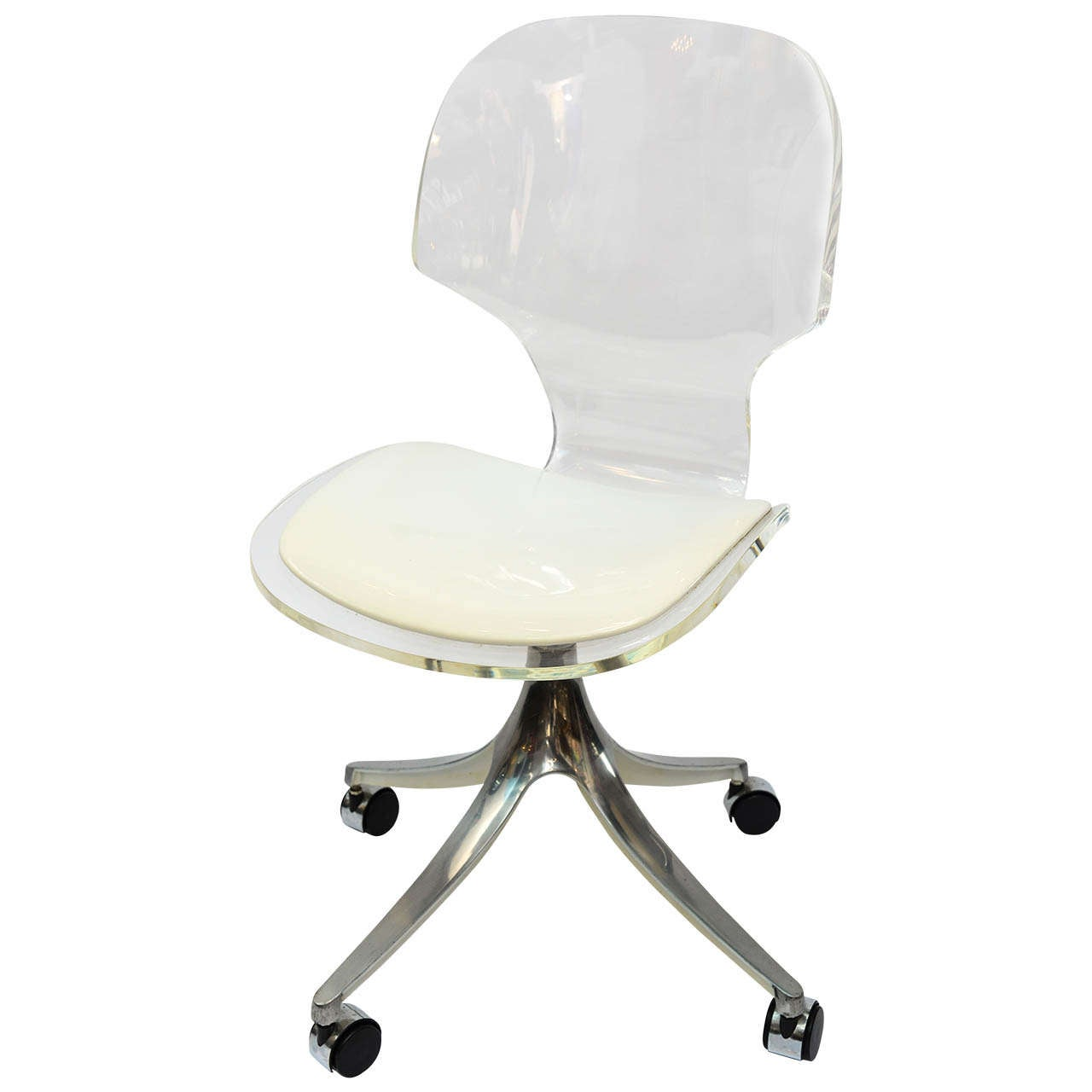 office chair steel base with wheels swivel moon stunning 1960 s lucite desk on chrome at 1stdibs for sale