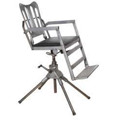 United Chair Medical Stool Folding Wooden 1920s Iron Cast Aluminum And Leather Military