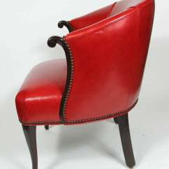Black Barrel Chair Patio Feet Protectors Red Leather At 1stdibs