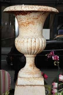 Antique Neoclassical Cast Iron Urn Pedestal .1800