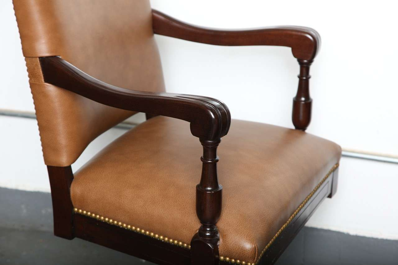 antique leather swivel desk chair theater chairs home entertainment classic armchair with casters