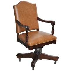 Desk Chair With Wheels Lazy Boy Chairs Nz Antique Classic Swivel Leather Armchair Casters