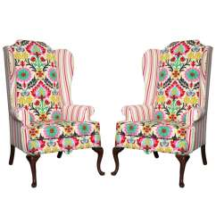 Queen Anne Wing Chair Covers For Wedding Decoration Pair Of American Drexel Wingback Chairs C 1960