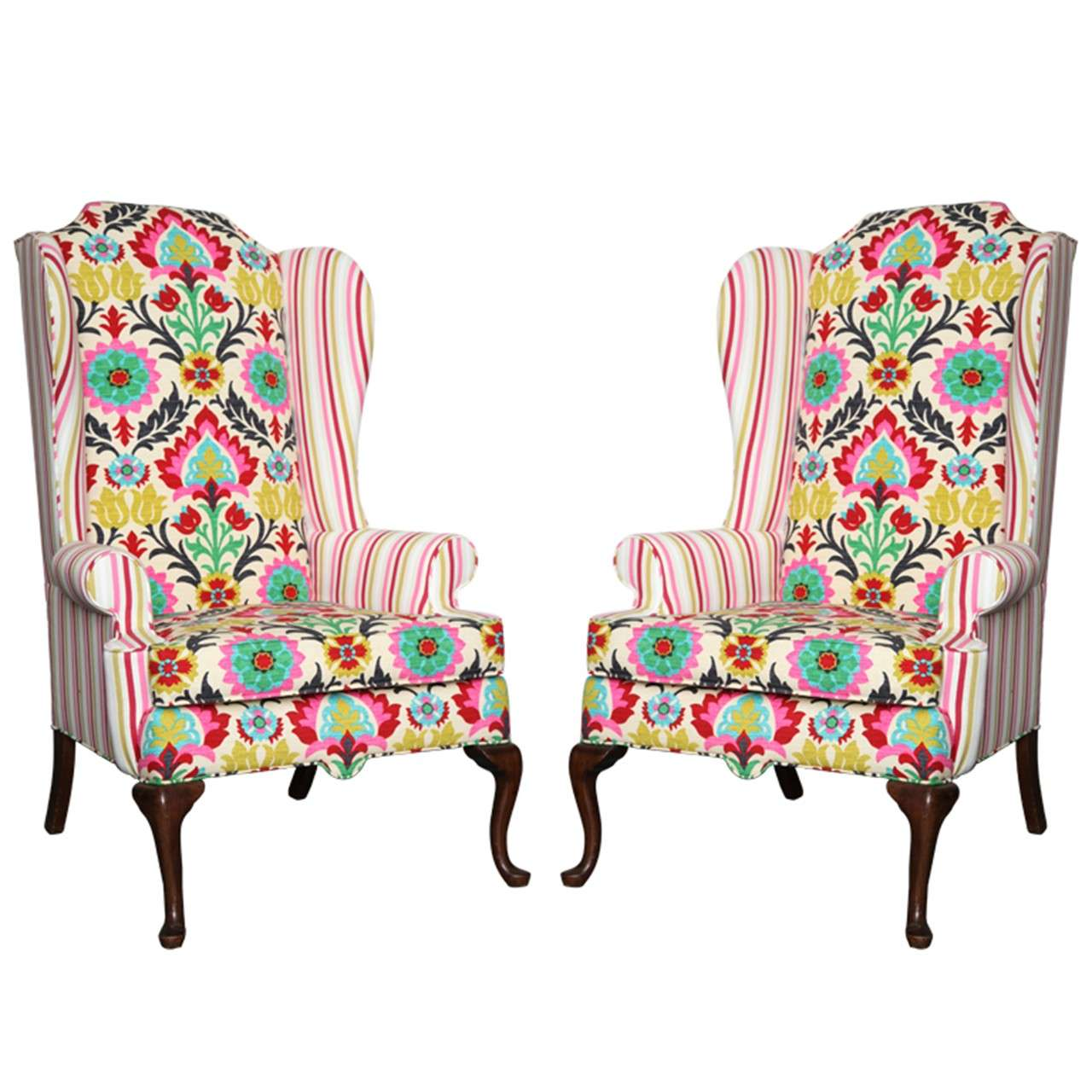 Queen Anne Wingback Chair Pair Of American Drexel Queen Anne Wingback Chairs C 1960
