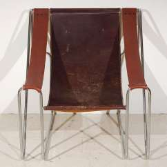 Sling Back Chair Dining Room Covers Diy Italian Leather At 1stdibs Single With Chrome Metal Tube Frame