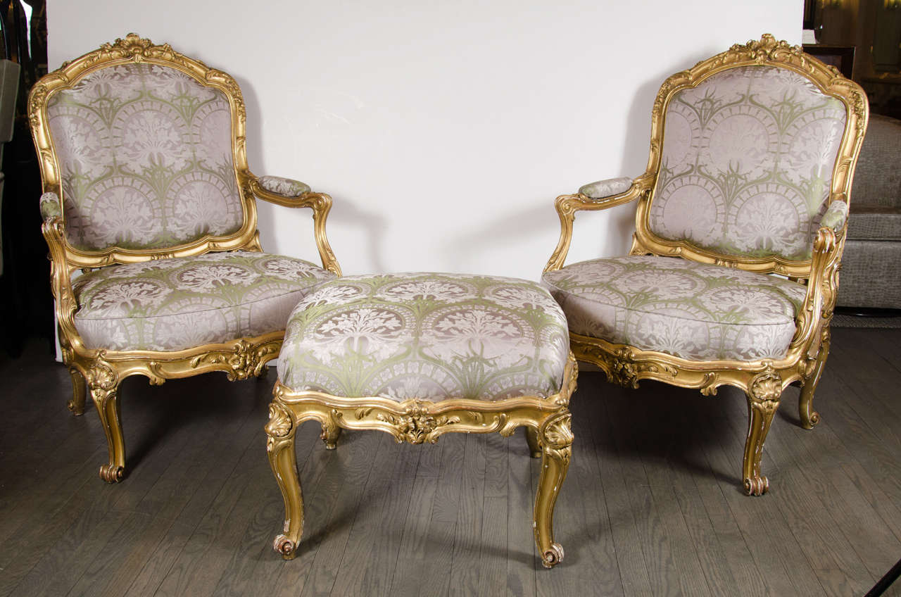french bergere chair and ottoman stadium arm pair of chairs in gilded wood