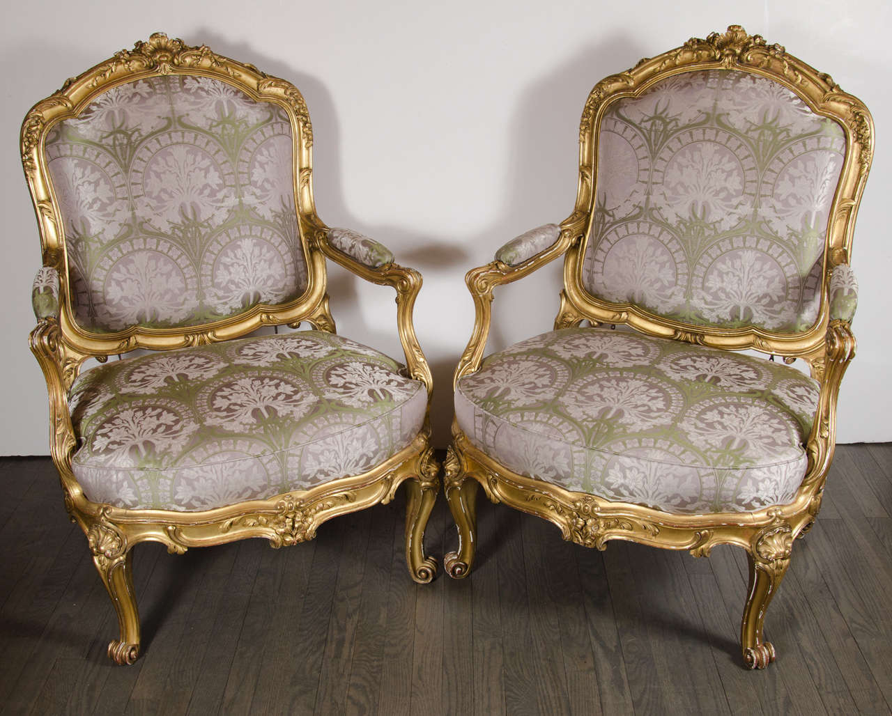 leather bergere chair and ottoman table rentals long island pair of french chairs in gilded wood