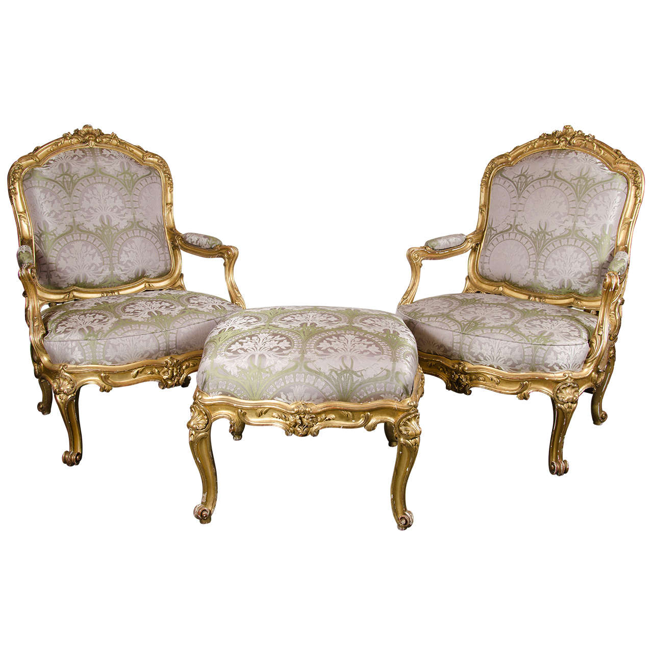 leather bergere chair and ottoman antique office wheels pair of french chairs in gilded wood