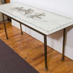 Horse Sofa Table Blue Living Room Pinterest Midcentury Marble Top Console With And Chariot