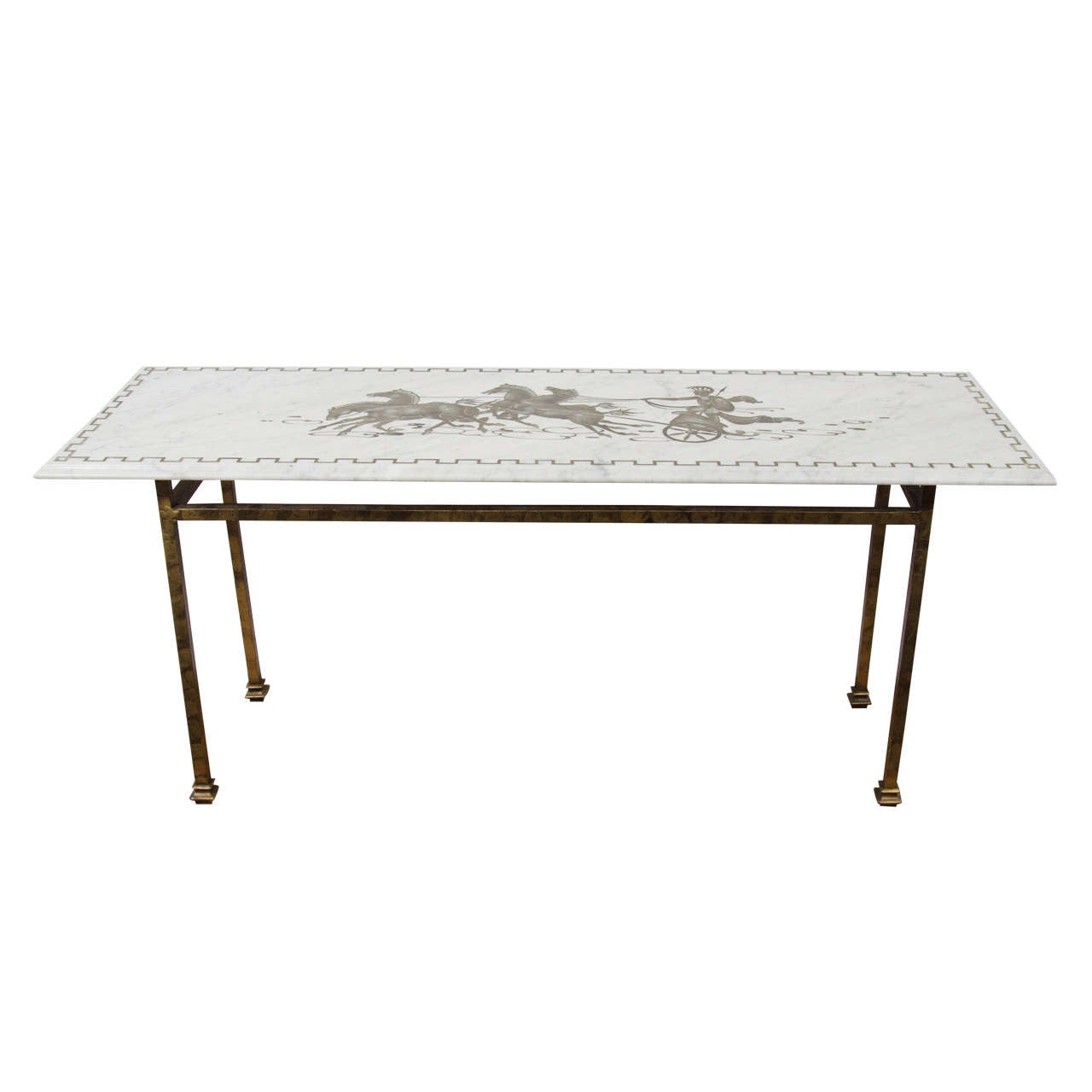 horse sofa table sorrento debenhams midcentury marble top console with and chariot