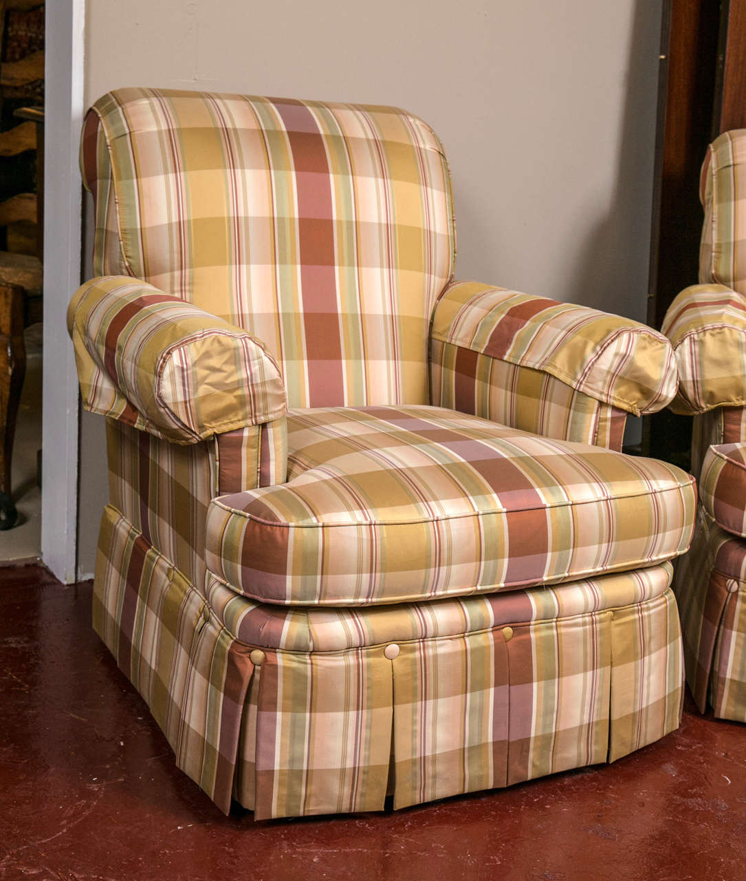chairs and ottomans upholstered potty chair for boys pair of custom quality silk plaid club