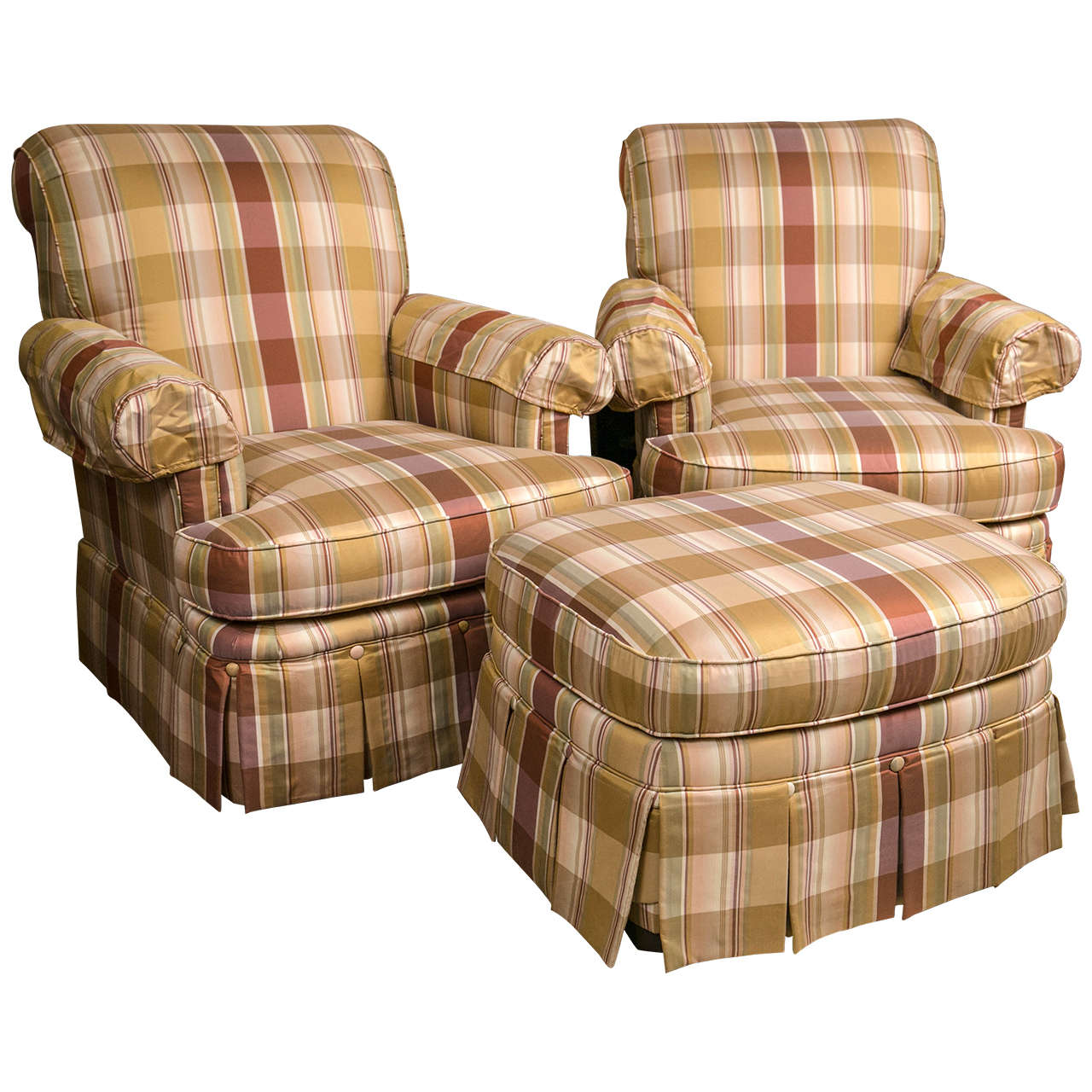chairs and ottomans upholstered high stool chair ikea pair of custom quality silk plaid club