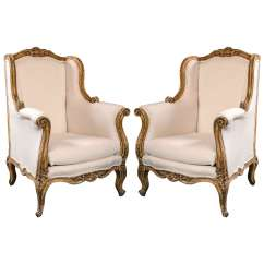 French Bergere Chair Ergonomic Vs Standing Desk Pair Of Vintage Rococo Style Wingback