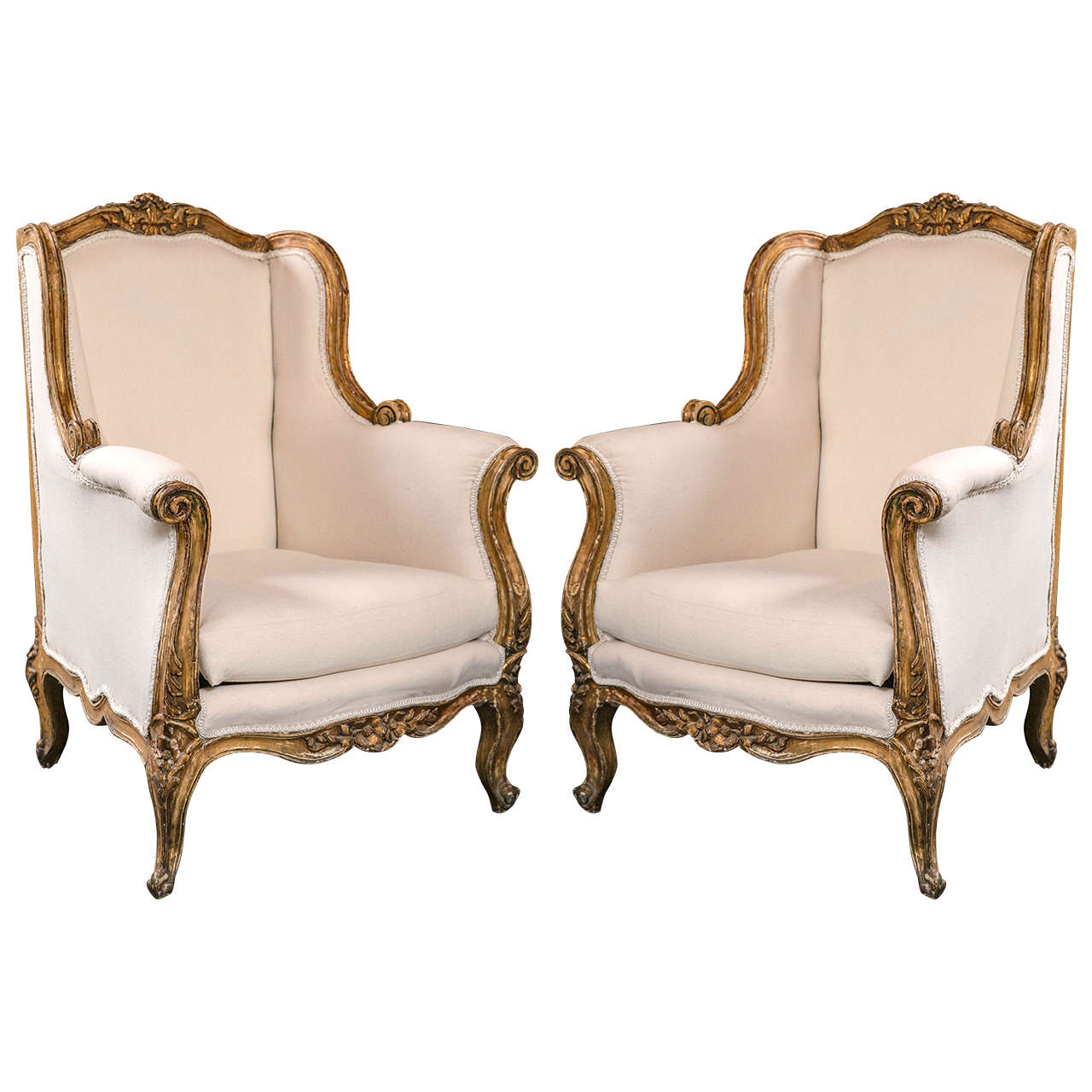 French Chairs Pair Of Vintage French Rococo Style Wingback Bergere