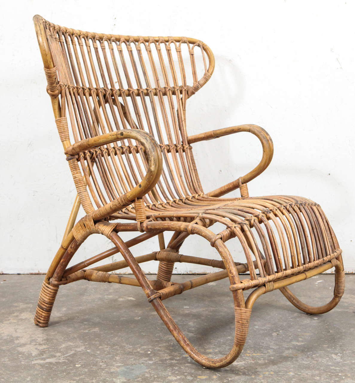 Vintage Rattan Chairs Vintage European Rattan Wingback Chair At 1stdibs