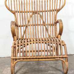 Wicker Wingback Chairs Folding Chair Cushions Vintage European Rattan At 1stdibs