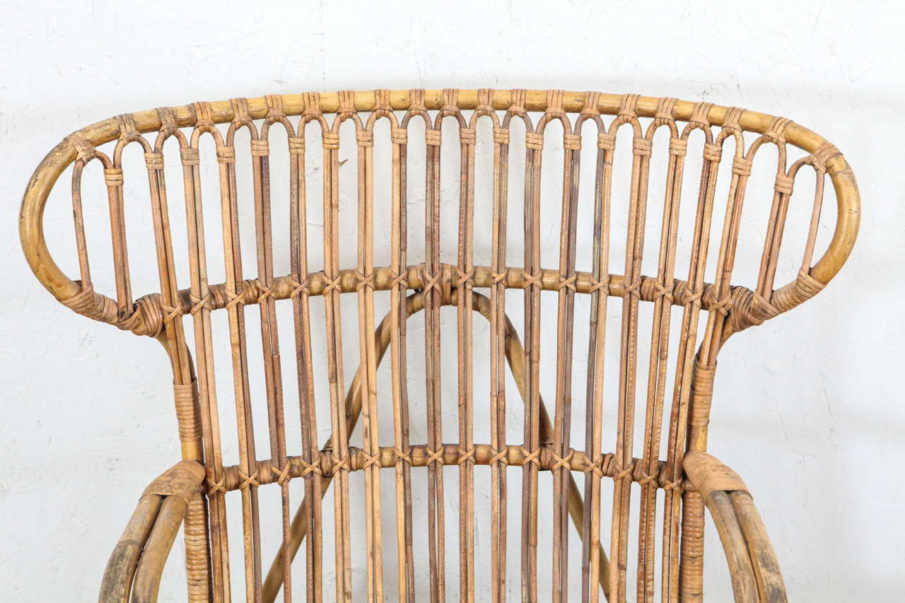 wicker wingback chairs office chair no wheels arms vintage european rattan at 1stdibs