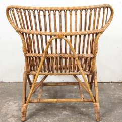 Wicker Wingback Chairs Set Of 2 Vintage European Rattan Chair At 1stdibs