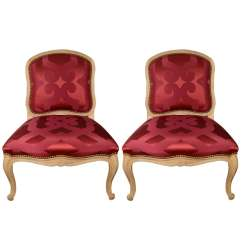 Antony Todd Sofa Royal Blue Sleeper Slipper Chairs Upholstered In Red Silk Dedar Fabric At 1stdibs