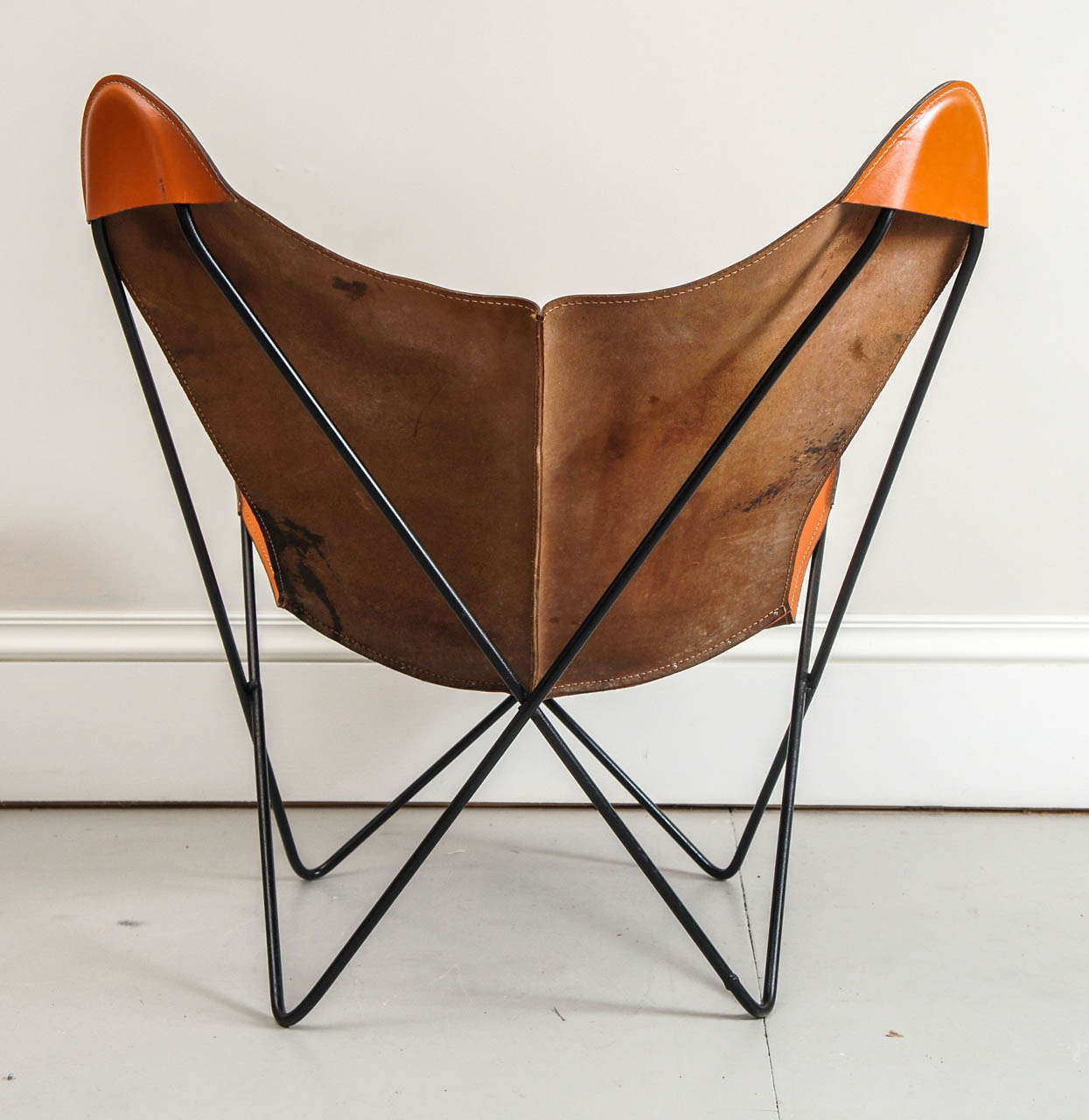airborne butterfly chair ikea bean bag mid century hardoy in leather at 1stdibs