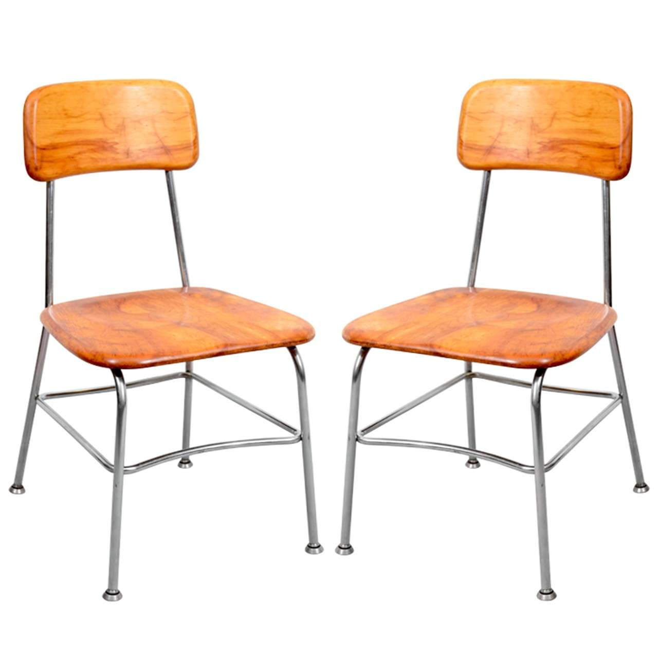 heywood wakefield dogbone chairs chair fair weymouth ma pair of mid century side by at