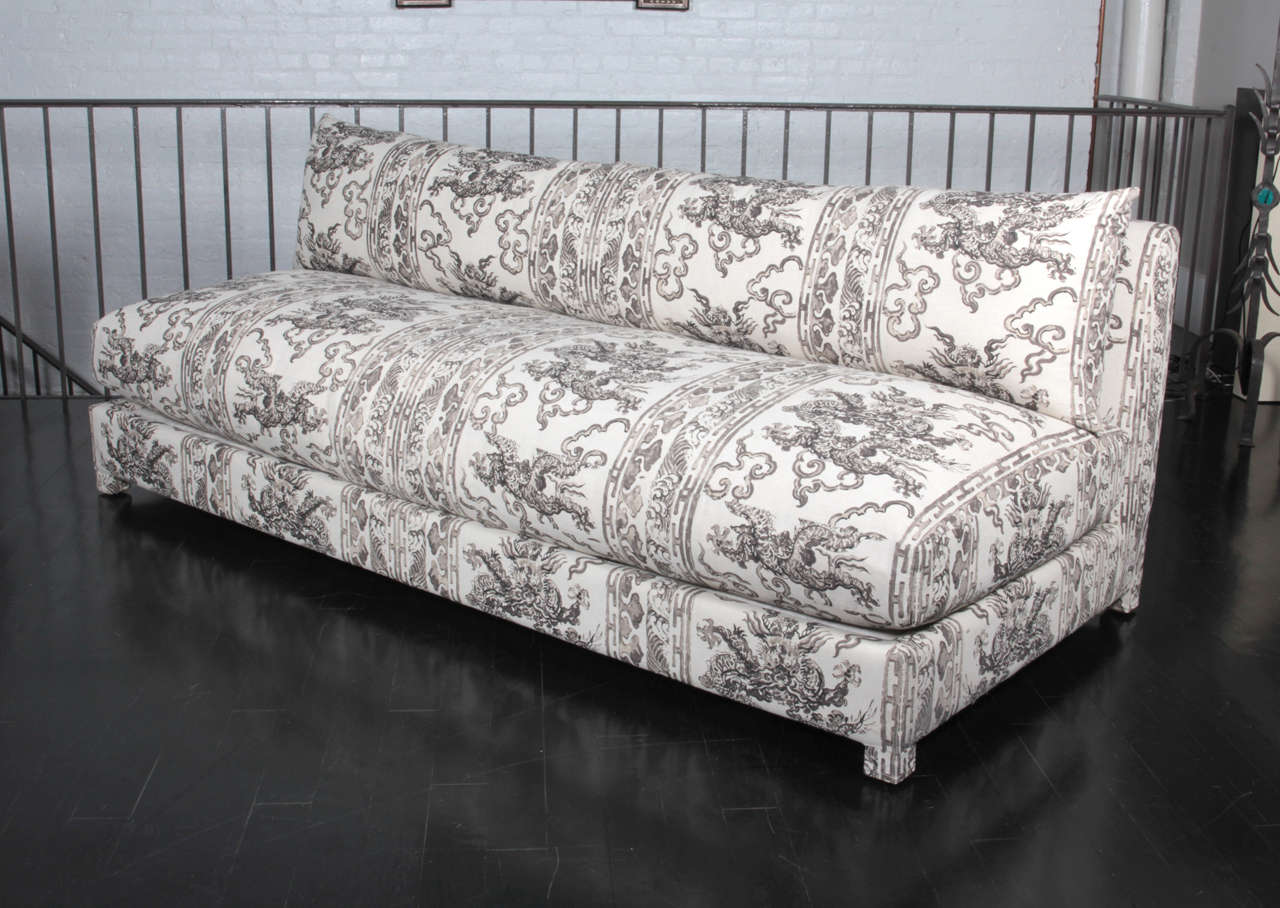 antony todd sofa curved corner sectional armless upholstered in jim thompson hand