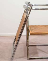 Mid Century Set of Four Folding Chrome and Cane Chairs at ...