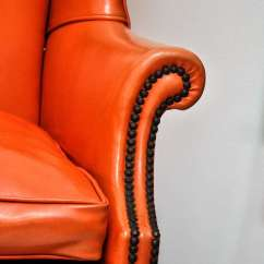 Wingback Chair For Sale Minnie Mouse Desk Uk Vintage Orange Leather Wing At 1stdibs