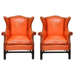 Orange Leather Chairs Tot Spot Lawn Chair Vintage Wing At 1stdibs