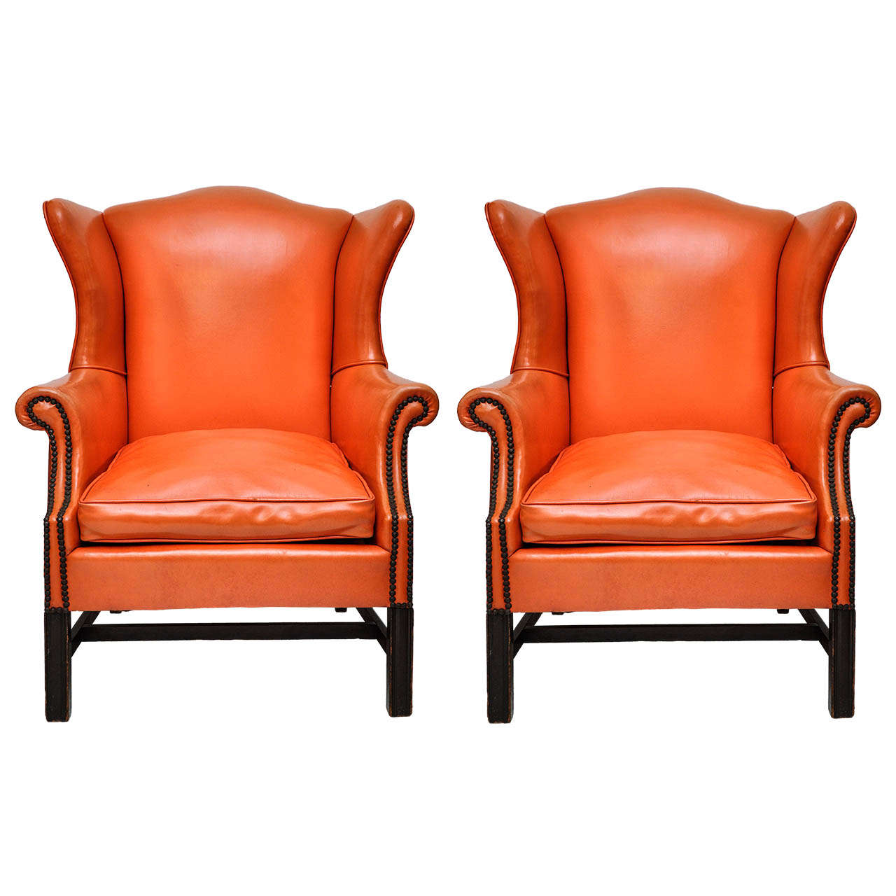 Orange Leather Chair Vintage Orange Leather Wing Chair At 1stdibs