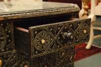 Moroccan Style Ebonized, Silver metal low table w/drawer ...
