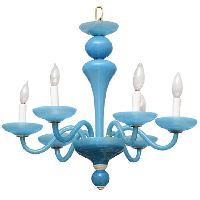 Vintage Blue Opaline Chandelier For