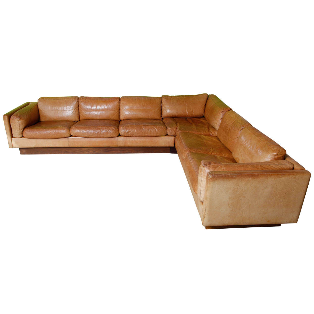 percival lafer sofa corsica black reclining console l shaped leather and wood 1970 at 1stdibs