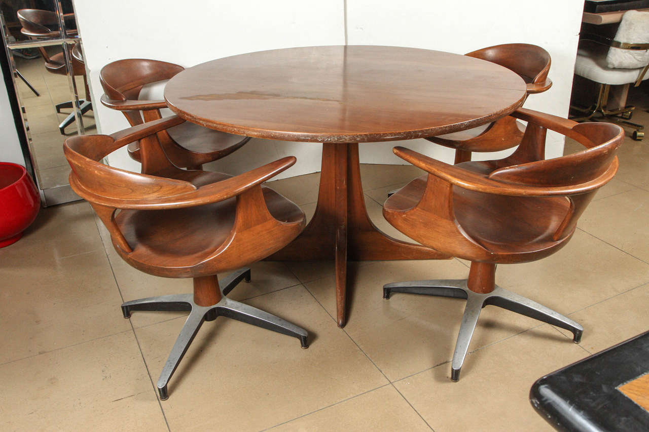 captain chairs dining room concrete rebar heywood wakefield table with four at