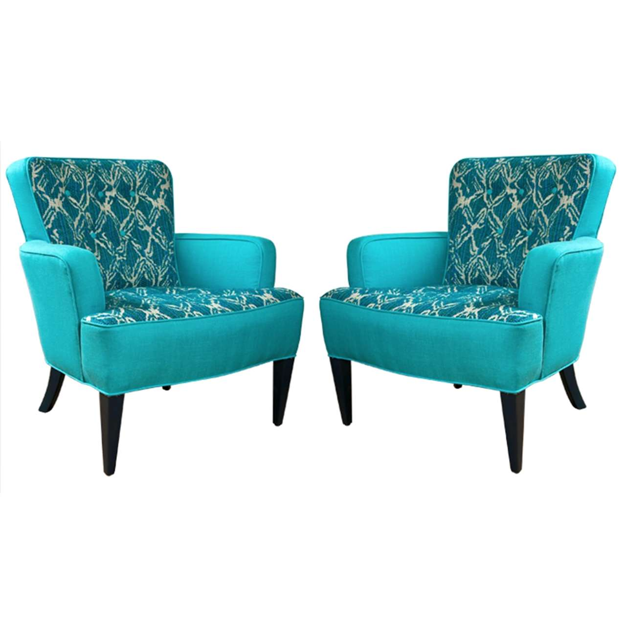 Turquoise Leather Chair Mid Century Turquoise Club Chairs With Daniel Cooper